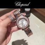 Chopard-040-2 潮流百搭玫瑰金間銀經典圓形錶盤滾珠設計瑞士石英腕錶