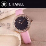 CHANEL-08-6 時尚新款土豪金配粉色鑲鑽星空面藍寶石鏡面進口石英腕錶
