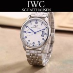 IWC-082-12 型男必備閃亮銀配白底經典兩針半鋼帶款進口石英腕錶
