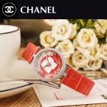 CHANEL-07 新款四季之花系列閃亮銀配紅色316精鋼錶殼進口石英腕錶