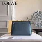 LOEWE 025-03 專櫃時尚新款T-pouch系列原版小牛皮紡織內襯個性手包