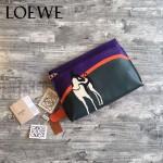 LOEWE 018 專櫃時尚新款T-bucket  bag系列之迷失小狗原版小牛皮大號拼接手包