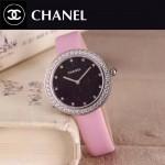 CHANEL-08-11 時尚新款閃亮銀配粉色鑲鑽星空面藍寶石鏡面進口石英腕錶