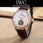 IWC-081-8 商務男士土豪金配白底鏤空飛輪設計全自動機械腕錶