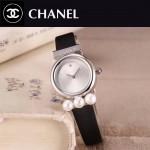 CHANEL-06-13 歐美百搭閃亮銀配黑色礦物質強化玻璃錶帶款進口石英腕錶