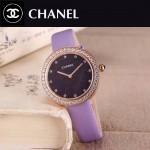 CHANEL-08-5 時尚新款土豪金配紫色鑲鑽星空面藍寶石鏡面進口石英腕錶