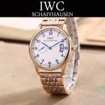 IWC-082-8 型男必備間金系列配白底經典兩針半鋼帶款進口石英腕錶