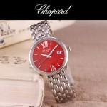 Chopard-039-7 潮流新款閃亮銀配紅色礦物質強化玻璃進口石英腕錶