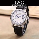 IWC-082-5 型男必備閃亮銀配白底經典兩針半進口石英腕錶