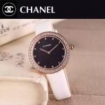 CHANEL-08 時尚新款土豪金配白色鑲鑽星空面藍寶石鏡面進口石英腕錶