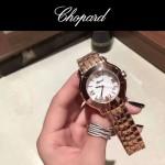 Chopard-040-3 潮流百搭玫瑰金經典圓形錶盤滾珠設計瑞士石英腕錶
