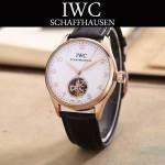 IWC-081-11 商務男士土豪金配白底鏤空飛輪設計全自動機械腕錶