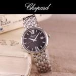 Chopard-039-12 潮流新款閃亮銀配黑色礦物質強化玻璃進口石英腕錶