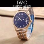 IWC-082-10 型男必備間金系列配黑底經典兩針半鋼帶款進口石英腕錶