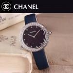CHANEL-08-9 時尚新款閃亮銀配藍色鑲鑽星空面藍寶石鏡面進口石英腕錶