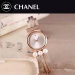 CHANEL-06-2 歐美百搭土豪金配白色礦物質強化玻璃手鐲款進口石英腕錶