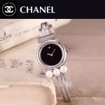 CHANEL-06-4 歐美百搭閃亮銀配黑色礦物質強化玻璃手鐲款進口石英腕錶