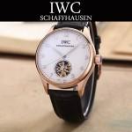IWC-081-9 商務男士土豪金配白底鏤空飛輪設計全自動機械腕錶