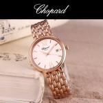 Chopard-039-8 潮流新款玫瑰金配白色礦物質強化玻璃進口石英腕錶