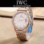 IWC-082-11 型男必備間金系列配白底經典兩針半鋼帶款進口石英腕錶