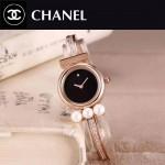 CHANEL-06 歐美百搭土豪金配黑色礦物質強化玻璃手鐲款進口石英腕錶