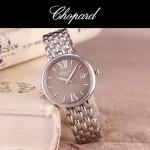Chopard-039-13 潮流新款閃亮銀配灰色礦物質強化玻璃進口石英腕錶