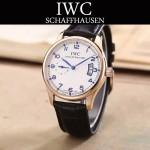 IWC-082-3 型男必備土豪金配白底經典兩針半進口石英腕錶