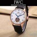 IWC-081-7 商務男士土豪金配白底鏤空飛輪設計全自動機械腕錶