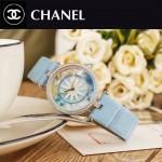 CHANEL-07-2 新款四季之花系列閃亮銀配藍色316精鋼錶殼進口石英腕錶