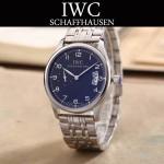 IWC-082-9 型男必備閃亮銀配黑底經典兩針半鋼帶款進口石英腕錶
