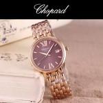 Chopard-039-5 潮流新款玫瑰金配紫色礦物質強化玻璃進口石英腕錶