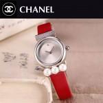 CHANEL-06-15 歐美百搭閃亮銀配紅色礦物質強化玻璃錶帶款進口石英腕錶