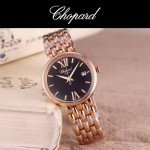 Chopard-039-4 潮流新款玫瑰金配黑色礦物質強化玻璃進口石英腕錶