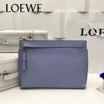 LOEWE 025 專櫃時尚新款T-pouch系列原版小牛皮紡織內襯個性手包