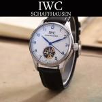 IWC-081-3 商務男士閃亮銀配白底鏤空飛輪設計全自動機械腕錶