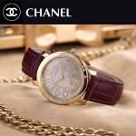 CHANEL-04-2 名媛必備土豪金配紫色藍寶石鏡面錶帶款瑞士石英腕錶