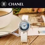 CHANEL-07-3 新款四季之花系列閃亮銀配白色316精鋼錶殼進口石英腕錶