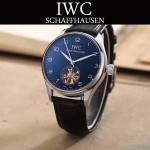 IWC-081-2 商務男士閃亮銀配黑底鏤空飛輪設計全自動機械腕錶
