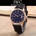 IWC-082-2 型男必備土豪金配黑底經典兩針半進口石英腕錶