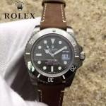 ROLEX-064 潮流男士鈦色潛水SUB系列黑色陶瓷圈皮帶款瑞士2836機芯腕錶