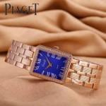 Piaget-026-8 時尚女士鑽石系列玫瑰金配藍色珍珠貝母面進口石英腕錶