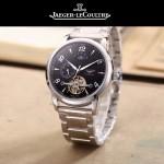 JAEGER-050-6 時尚男士大師系列黑色閃亮銀三針設計全自動機械腕錶