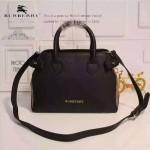Burberry-0204-03 時尚新款經典風格原版進口荔枝紋牛皮配布小號手提斜背包