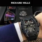 Richard Mille-83-4 時尚爆款黑色膠帶款立體飛輪面原裝8215自動機械腕錶