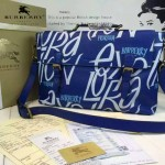 Burberry-0215 專櫃時尚新款印花工藝小牛皮英倫學院風斜背包