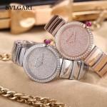 Bvlgari-98-5 最新女士LVCEA系列玫瑰金滿天星鑲鑽藍寶石鏡面瑞士石英腕錶