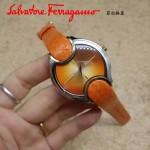 Ferragamo-004-2 高貴奢華Signature橙色玫瑰花瓣蛇皮錶帶原裝瑞士石英腕錶