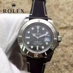 ROLEX-064-2 潮流男士鈦色潛水SUB系列黑色陶瓷圈皮帶款瑞士2836機芯腕錶