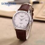 LONGINES-0102-3 全新復古閃亮銀配白底三針設計原裝全自動機械腕錶