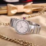 Bvlgari-98-2 最新女士LVCEA系列閃亮銀配白底藍寶石鏡面瑞士石英腕錶